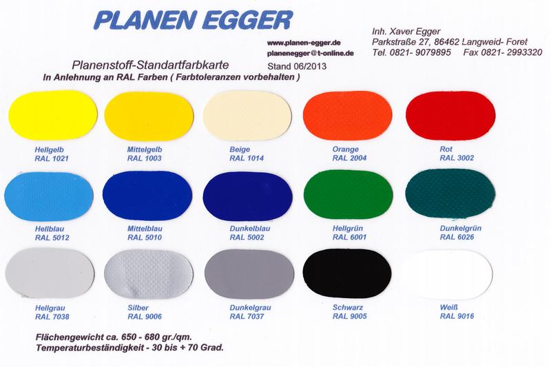 Planen Egger - Farbmuster